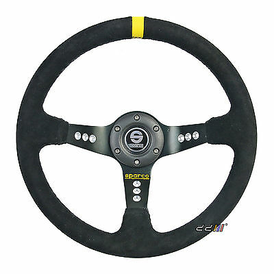 350mm Suede Leather Deep Dish Sport Race Steering Wheel Fits SPARCO OMP Boss Kit