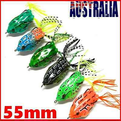 6 Topwater Popper Soft Plastic Lure Frog Fishing Surface Cod Barra Bass Perch