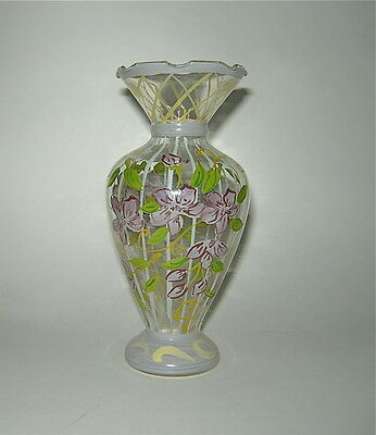 Tracy Porter style hand painted glass vase, ruffled edge, purples & greens