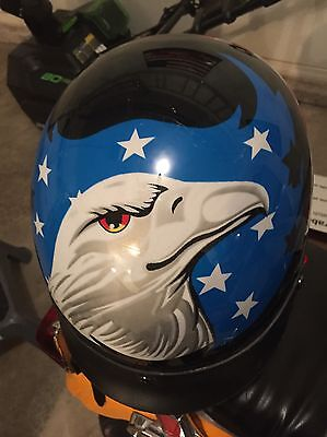 Motorcycle Bikers Helmet!! Size Large With Awesome Design!! Look!!