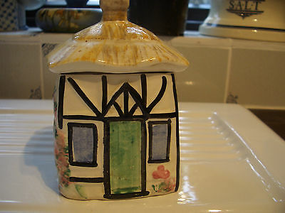 Pottery thatched cottage jam or honey pot