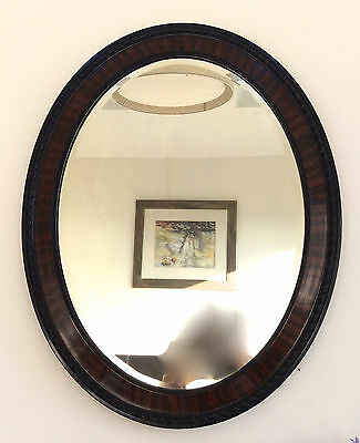 c1910 Fine Orig. ANTIQUE EDWARDIAN Striped Dark Lacquered Mahogany OVAL MIRROR
