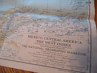 "1934 Antique Map Mexico, Central America, West Indies Original 41"" x 23"""