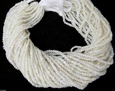 """5 Strand White Moonstone Gemstone Micro Faceted Rondelle Beads 2-4mm 13""""Long"""