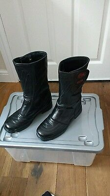 Ladies Black Leather Motorcycle Boots Size 7