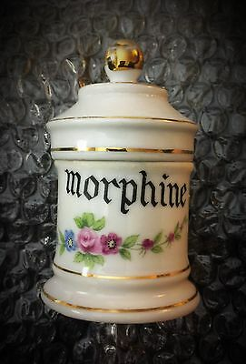 "Antique Porcelain Apothecary Jar ""morphine"""