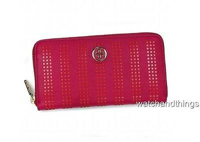 New Tory Burch Robinson Saffiano Leather Perforated Zip Wallet 51149295 $225