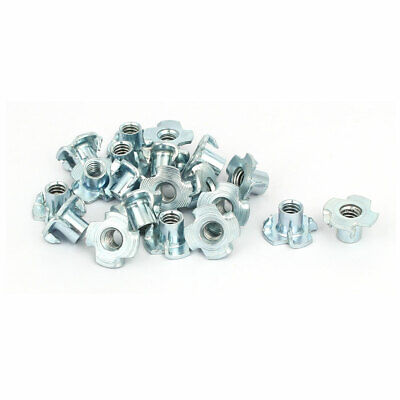 1/4-inch Thread Dia 10mm Height 4 Prongs Fully Threaded Pronged Tee Nuts 20pcs