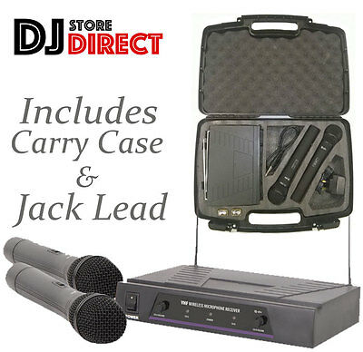 QTX DUAL HANDHELD VHF WIRELESS MICROPHONE SYSTEM & Carry CASE 171.816UK FREE P&P