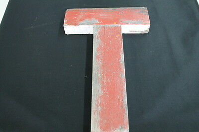 vintage red white chippy wooden chip sign letter T Red & White store
