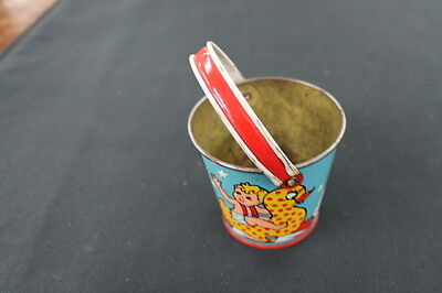 vintage turquoise blue red metal tin toy child watering can kids floating ducks