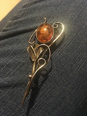 antique art nouveau brooch- amber and sterling silver
