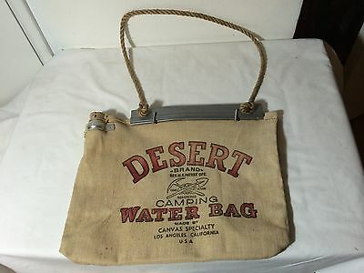 Desert Brand Vintage Camping Water Bag Canvas Specialty Los Angeles CA 14.5x12.5