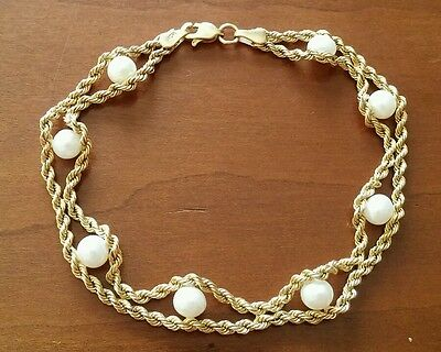 """10K Solid Gold Pearl Twisted Rope Chain Bracelet 7 1/2"""" long"""