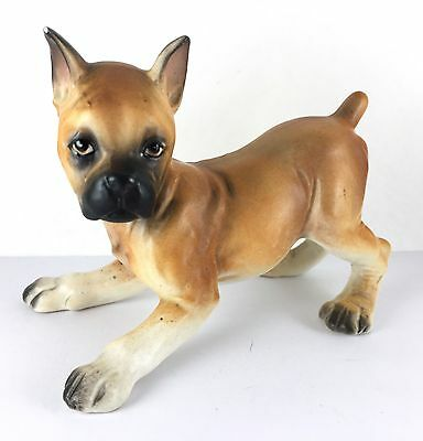 Boxer Brown White Dog Puppy Play Figurine Pointed Ears Short Tail- Small Chip