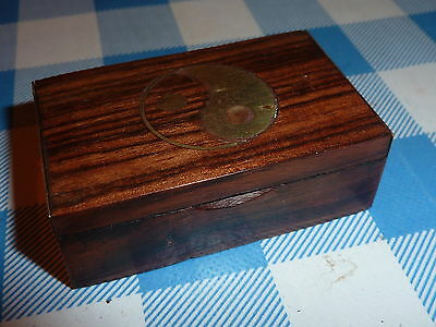 Vintage Wooden Snuff Box with Brass ends