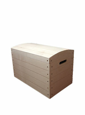 Large Pirate Chest Untreated Wooden Kids Bedroom Box Trunk Storage Toys Storage