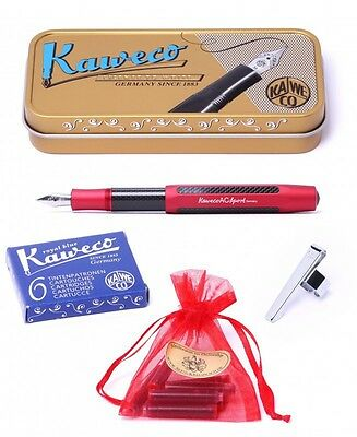 Kaweco Sport AC Set Stylo plume rouge F, Cartouches, Clip