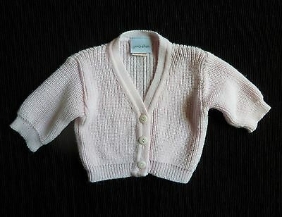 Baby clothes GIRL premature/tiny<8lbs/3.6kg pale pink V-neck soft acryl cardigan