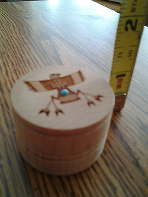 THUNDERBIRD LASER CARVED TRINKET BOX with SMALL TURQUOISE STONE