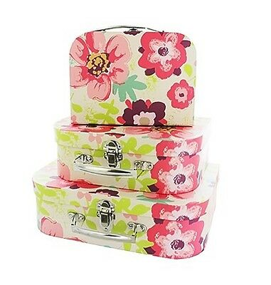 Set 3 Vintage Style Floral Storage Cases Boxes Suitcases Shabby Chic flower