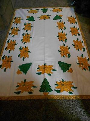 "Vintage Christmas Tree & Poinsettia Appliqued Sequin & Beaded Tablecloth 83""X58"""
