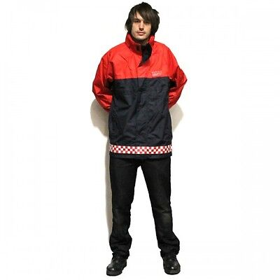 RED GENUINE Fireman's FireFighter's Coat-Reflective Strips-Certified BY Bristol
