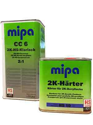 2K Lacquer Clear Coat Mipa Cc6 5L Hs Scratch Resistant Gloss Fast Hardener 2.5L