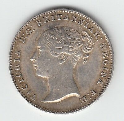 1850 Silver Threepence 3d - Victoria