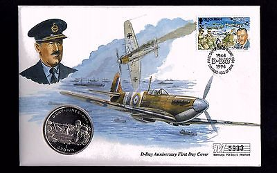 1994 D-Day  Isle of Man FDC with Crown Coin