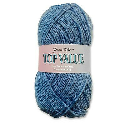 James C Brett Top Value Double Knitting DK Wool Yarn - Blue 8419 (100g)