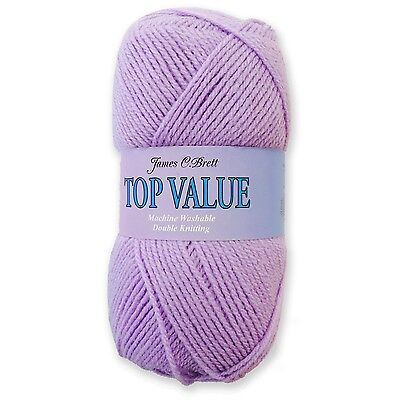 James C Brett Top Value Double Knitting DK Wool Yarn - Lilac 8431 (100g)