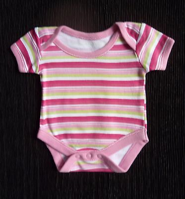 Baby clothes GIRL premature/tiny<7.5lb3.4k bodysuit bright pink/app green stripe