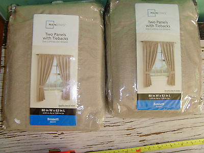 2 NEW NIP Sets 80x63 in Two Panels w/ Tie Backs Bennet Brown Stone Classic Chic