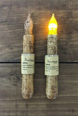 "Set of 2 - LED Battery Taper Flicker Candle - Grungy Burnt Ivory- 6"" - 6.5"""