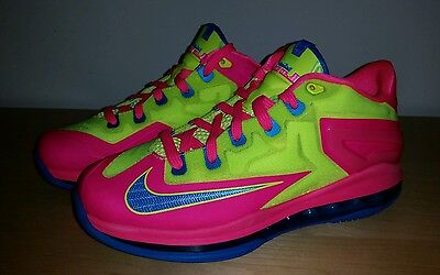 New Nike Max LeBron XI 11 Low Basketball Youth US 6.5 Blue Volt Hyper Pink