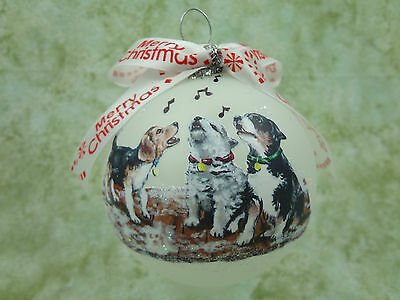 D062 Hand-made Christmas Ornament dog - adorable caroling puppies puppy singing