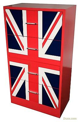 DUSX Vintage Retro Union Jack Boys Room Red Four Drawer Chest of Drawers