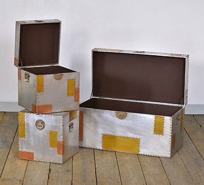 Industrial Aluminium Copper Trunks Set Of Three Storage W80 x D40 x H40cm