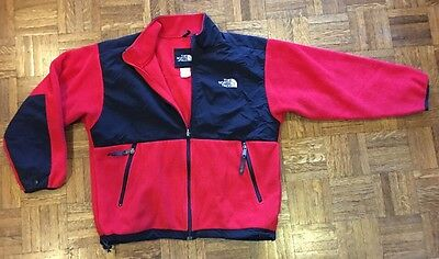 The North Face TNF Kid's Youth Junior Fleece Jacket Red Black Size L/G