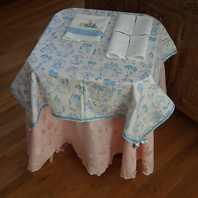 "BLUE ""Disney Princess"" Toile Print FabricTablecloth w/Napkins for Tea Sets, NEW"