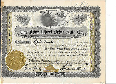 Four Wheel Drive Auto Co.1923=State Wisconsin--Stock Certificate