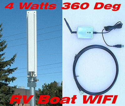 Outdoor Long Range 2.4G 4 Watts 36dBm USB Omni Panel Antenna WIFI 11n Repeater