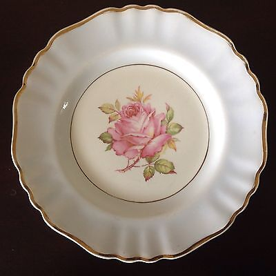 "J & G Meakin Blue Band Pink Rose Center 10"" Dinner Plate MEK423 Vintage England"