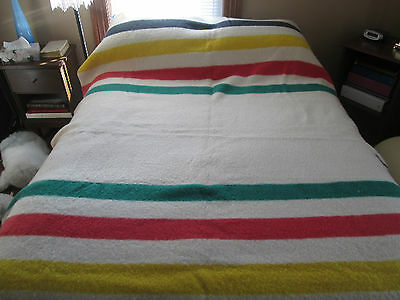 "Vintage Early's Witney 4 Point Pure Wool Blanket Made In England 68"" x 86"""