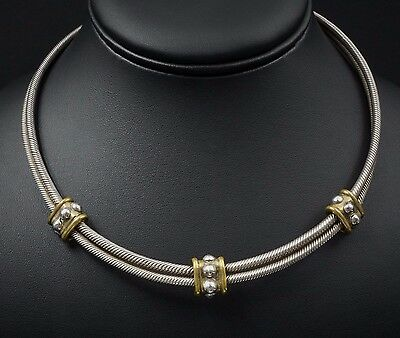 """Taxco Sterling Silver Double Cable Bead Station Neck Cuff Necklace 17"""" 78g NS748"""