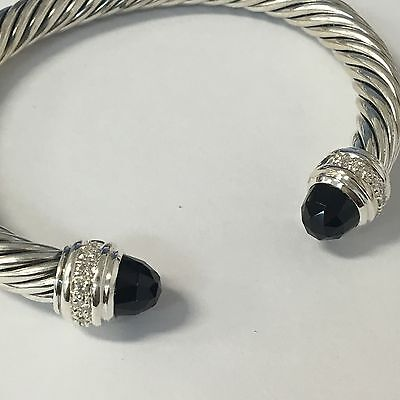 David Yurman Sterling Silver 925 Onyx & Diamonds 7mm Cable Cuff Bracelet