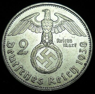 * Nazi Germany 1938A 2 Reichsmarks Silver Coin. Third Reich. Swastika. Mark.