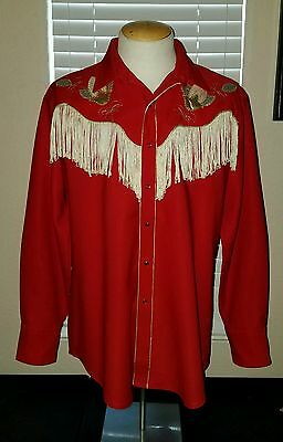 Vintage Karman Gold Collection Western Cowboy Pearl Snap Shirt Rockabilly L Red