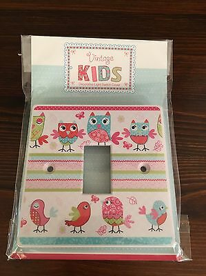 Vintage Kids Decorative Owls And Birds Acrylic Light Switch Cover